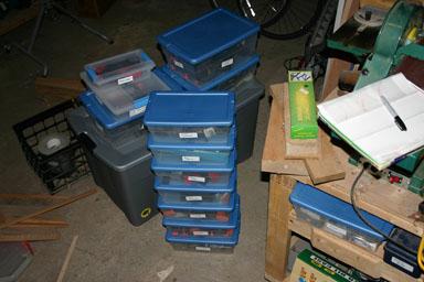 plastic boxes.